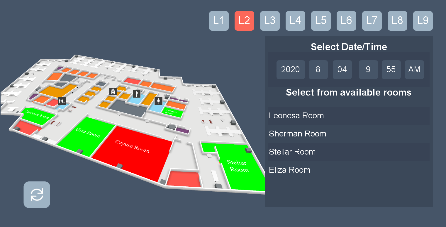 Hoteling and Room Booking map wayfinding